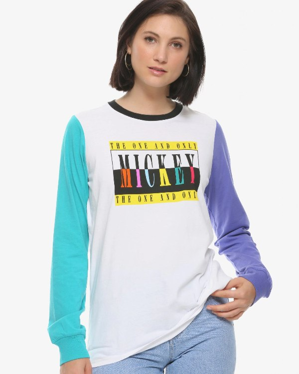 Disney Mickey Mouse Colorblock Women's Long Sleeve T-Shirt