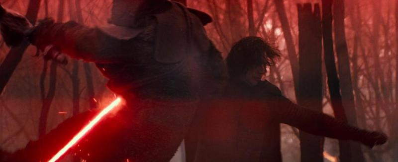 Kylo Ren fights with a red lightsaber in STAR WARS: THE RISE OF SKYWALKER
