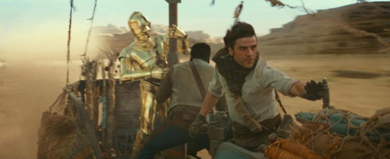 C-3PO, Finn, and Poe in STAR WARS: THE RISE OF SKYWALKER