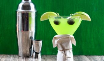 Baby Yoda Cocktail with martini shaker