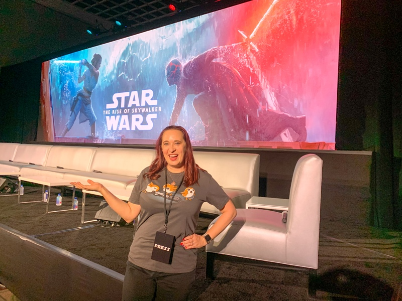 Blogger Mindy Marzec at the global press conference for STAR WARS: THE RISE OF SKYWALKER
