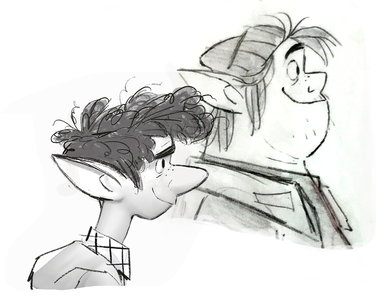 Onward movie Ian and Barley profile sketch
