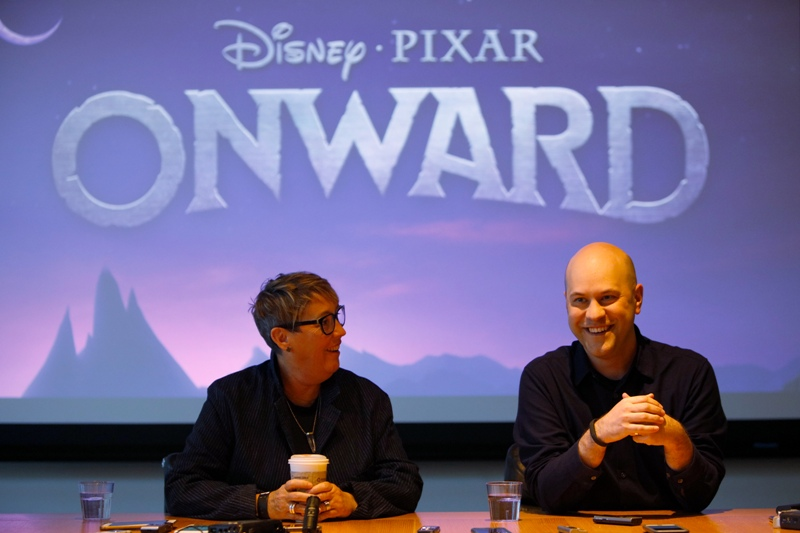 ONWARD Producer Kori Rae and director Dan Scanlon at a press conference at Pixar Studios