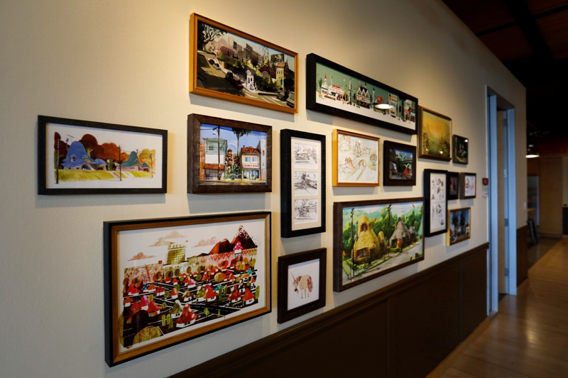Onward art gallery wall at Pixar Studios