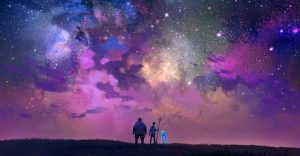 ONWARD movie concept art with Barley, Ian, and their dad's pants looking out into a colorful fantasysky