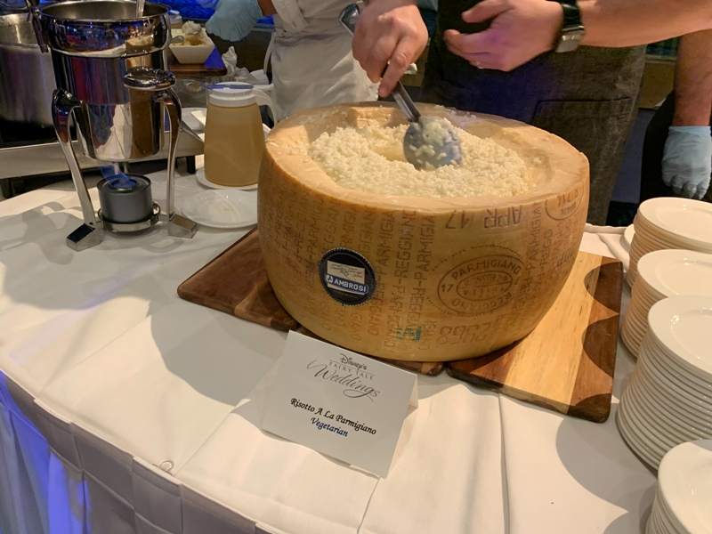 Risotto in cheese wheel  at Disneyland weddings showcase
