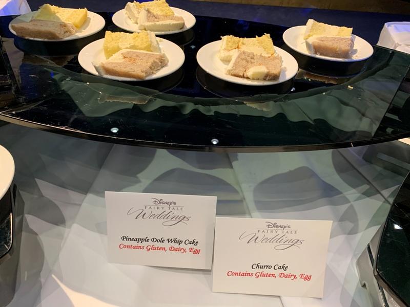 dole whip and churro cake slices at Disneyland weddings showcase