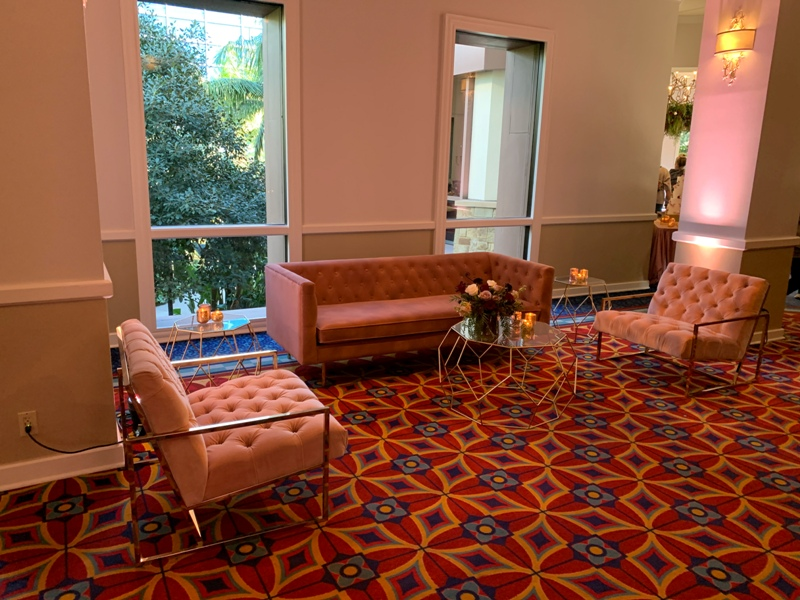 Disneyland hotel Sleeping Beauty Pavilion wedding reception lounge furniture