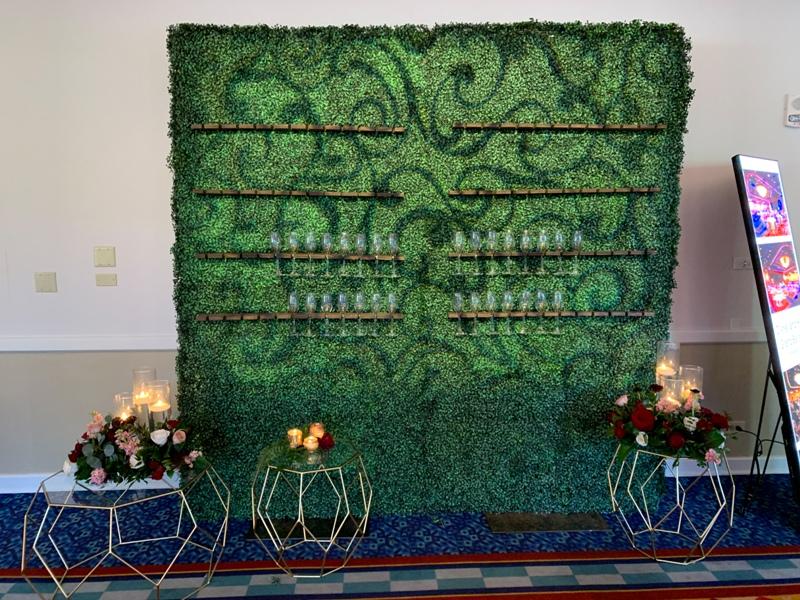 Disneyland Hotel Sleeping Beauty Pavilion wedding reception champagne wall