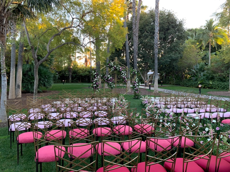 Disneyland Hotel Adventure Lawn wedding ceremony