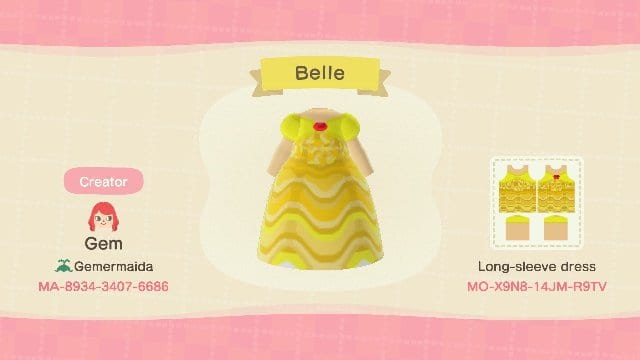 Belle dress with Creator Code for Animal Crossing: New Horizons