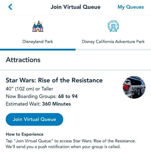 Screenshot of Disneyland app showing the Virtual Queue screen