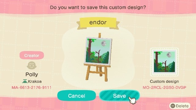 Endor art with Creator Code for Animal Crossing: New Horizons