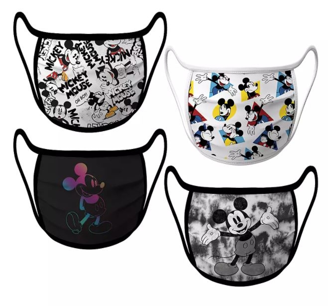 Set of 4 face masks featuring different images of Mickey Mouse
