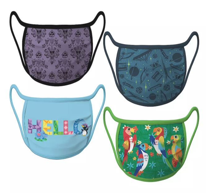 Set of 4 face masks featuring different Disneyland attractions