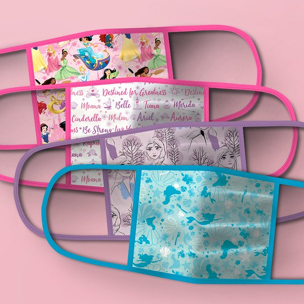 Set of 4 face masks featuring different images of Disney princesses