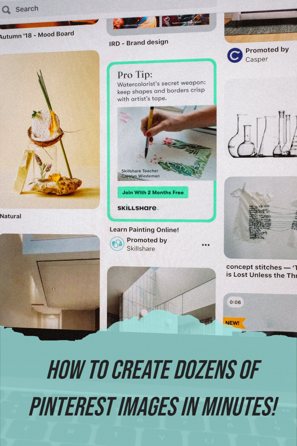 """Screenshot of Pinterest page with text overlay """"How to create dozens of pinterest images in minutes!"""""""