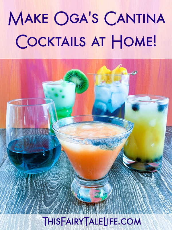 """Five drinks with text overly """"Make Ogas Cantina Cocktails at home!"""""""