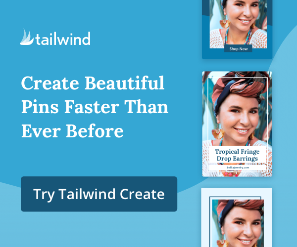 """Banner for Tailwind Create with text overlay """"Create beautiful pins faster than ever before"""""""