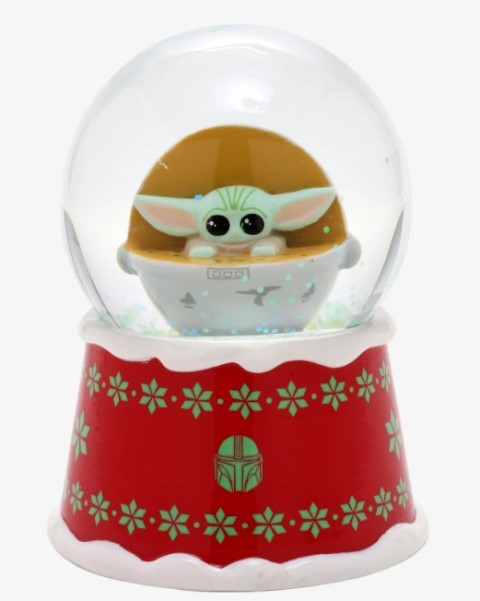 Red and green snowglobe featuring The Child from The Mandalorian