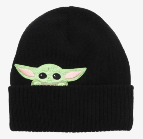 Black beanie hat featuring The Child from The Mandalorian