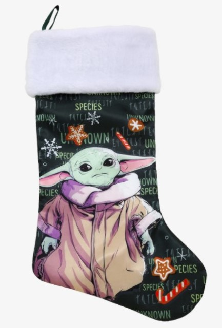 Green Christmas stocking featuring The Child from The Mandalorian