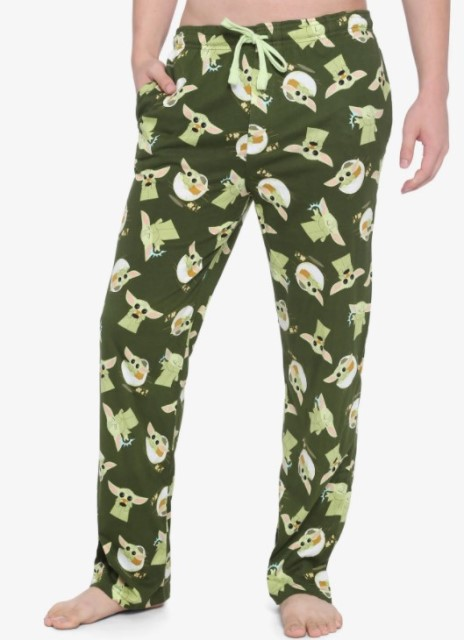 Dark Green pajama pants featuring The Child from The Mandalorian