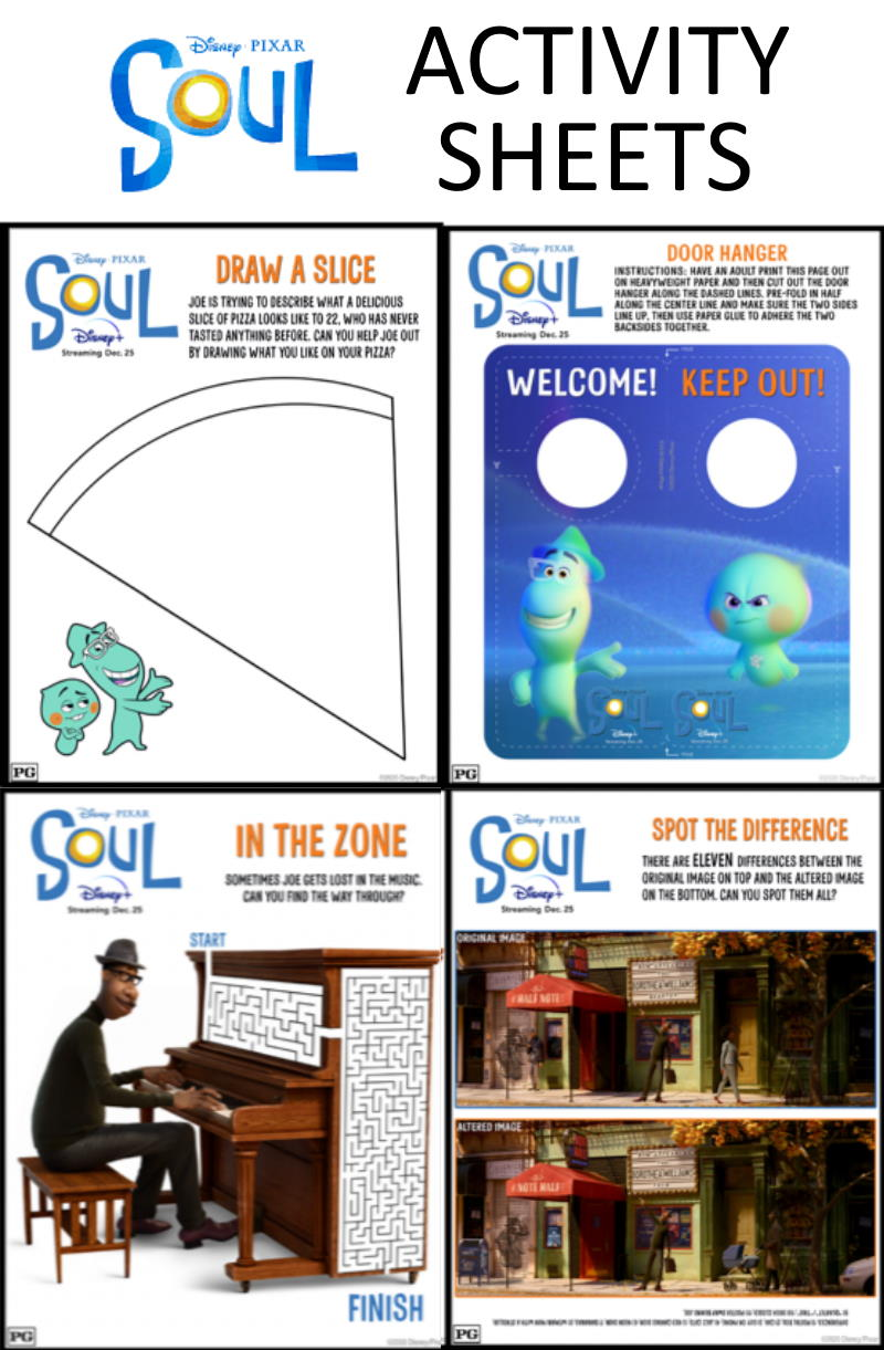 SOUL Printable Activities and Movie Review