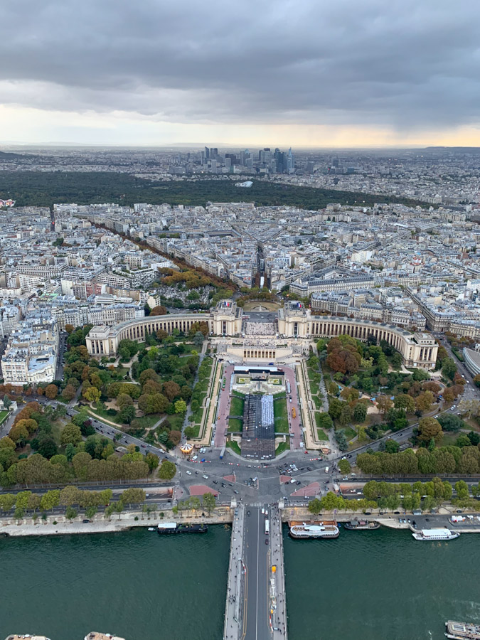 View of Paris France from top of Eiffel Tower
