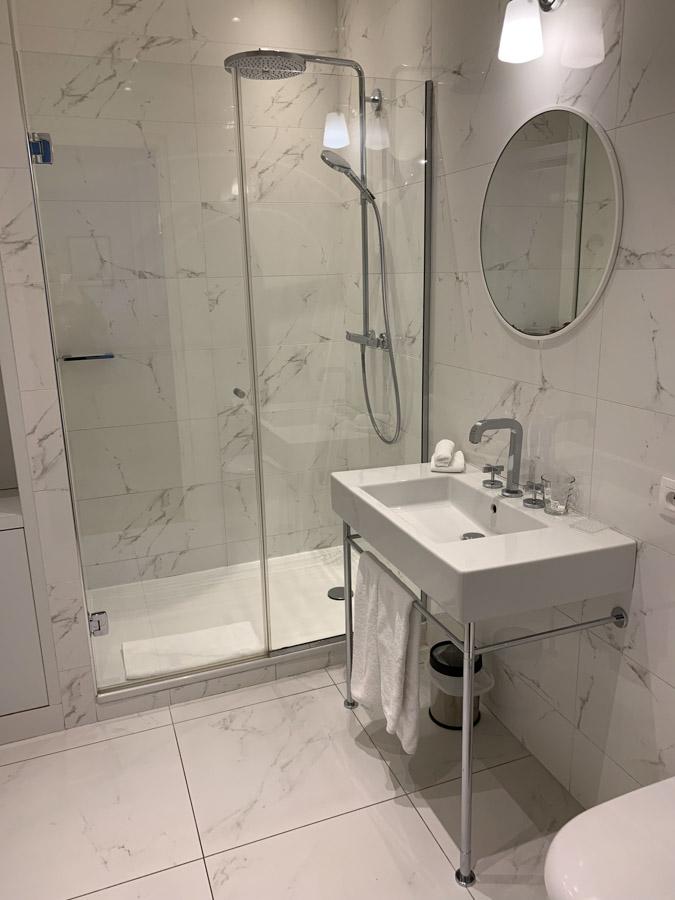 Interior of hotel room bathroom
