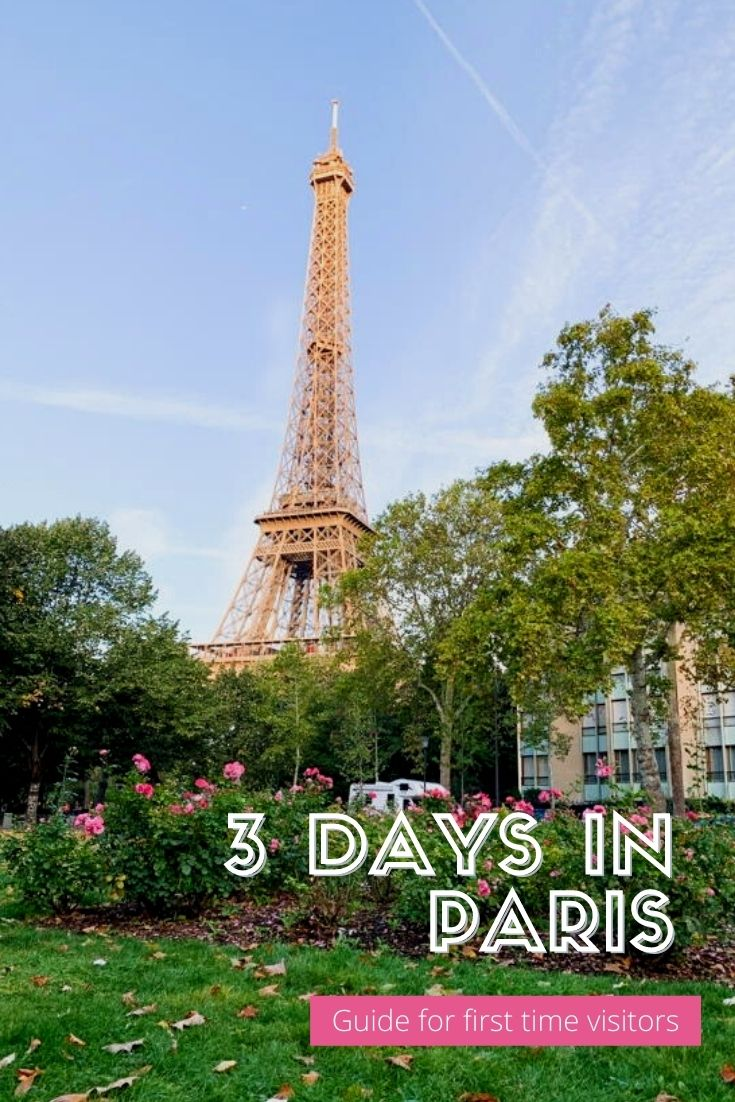 """Far away shot of Eiffel Tower in Paris with text """"3 Days in Paris"""""""