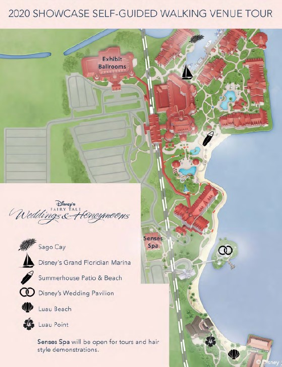Map of venues at Walt Disney World weddings showcase