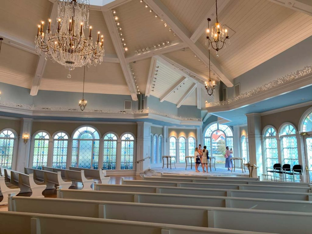 wide shot of interior of disney's wedding pavilion
