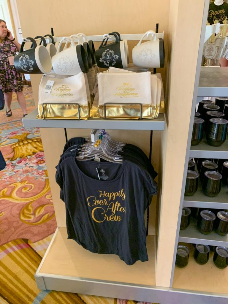 Shirts that read happily ever after crew and wedding mugs
