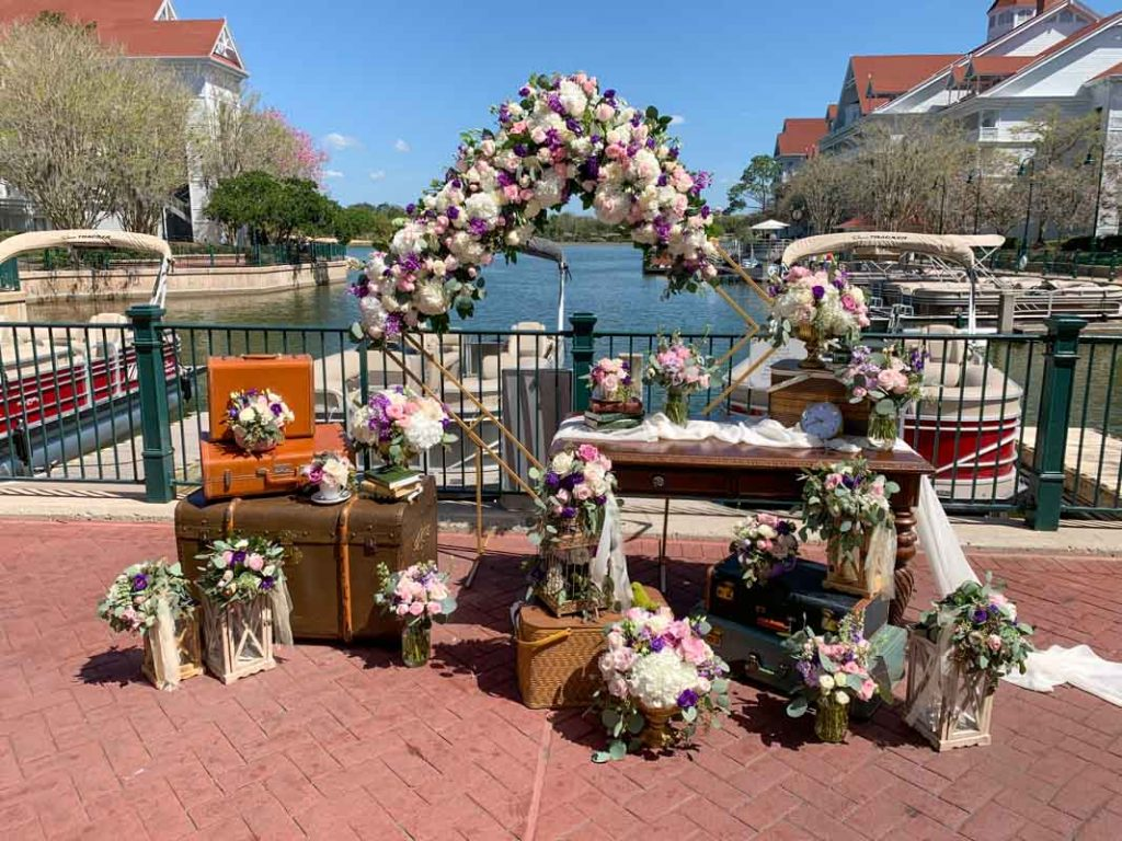 Wedding reception set up at Disney's Grand Floridian Hotel Marina