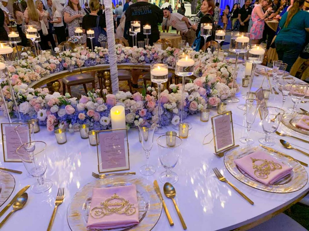 Close up of white wedding reception table