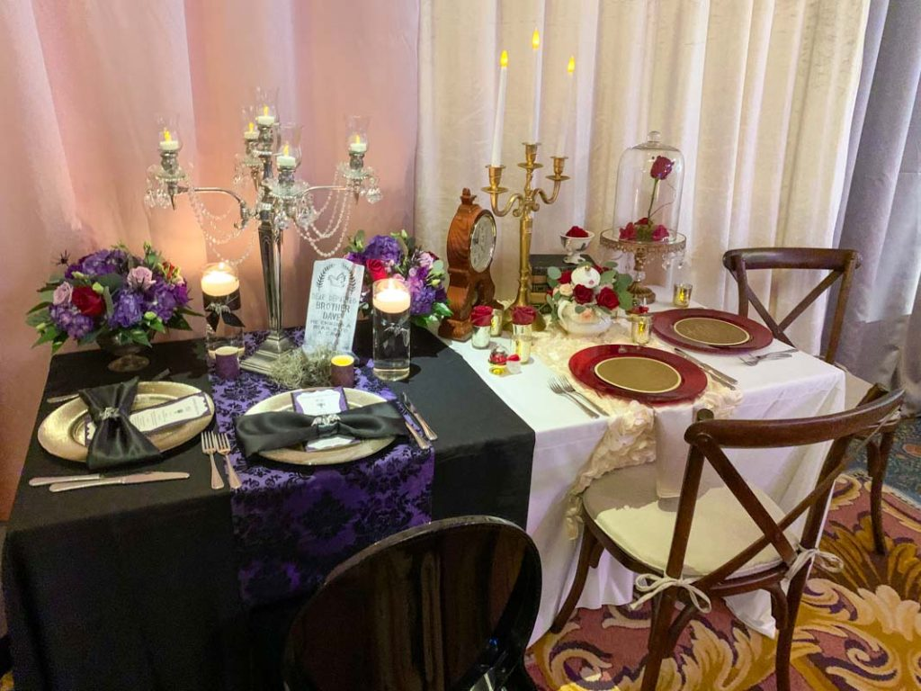 Sample wedding reception table with two different decor themes