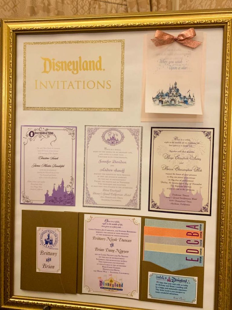 Board of various wedding invitations