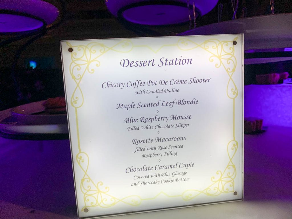 Menu showing list of desserts