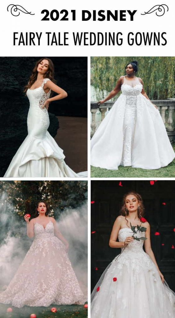 "Collage of four brides with text overlay ""2021 Disney Fairy Tale Wedding Gowns"""