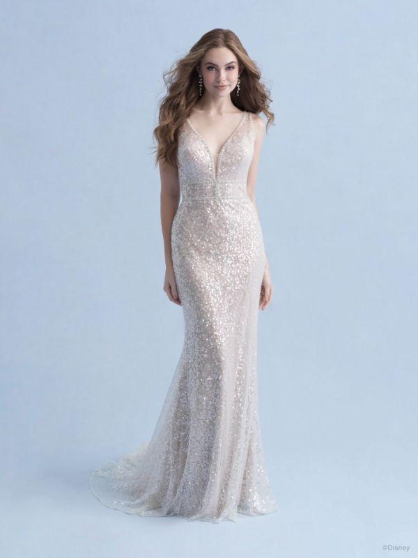 Bride wearing wedding gown inspired by Disney Princess Ariel