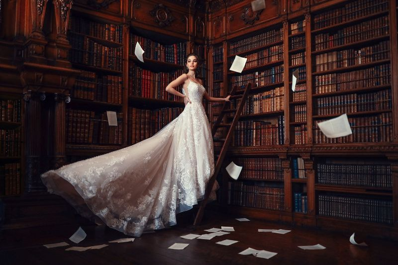 Bride wearing wedding gown inspired by Disney Princess Belle