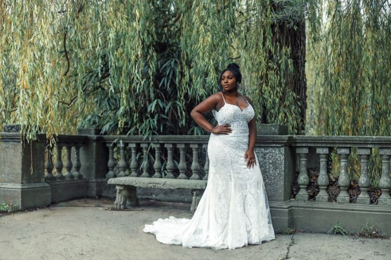 Bride wearing wedding gown inspired by Disney Princess Tiana
