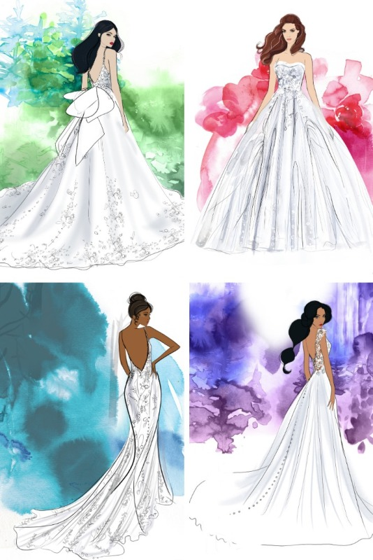 sketches of 4 bridal gowns