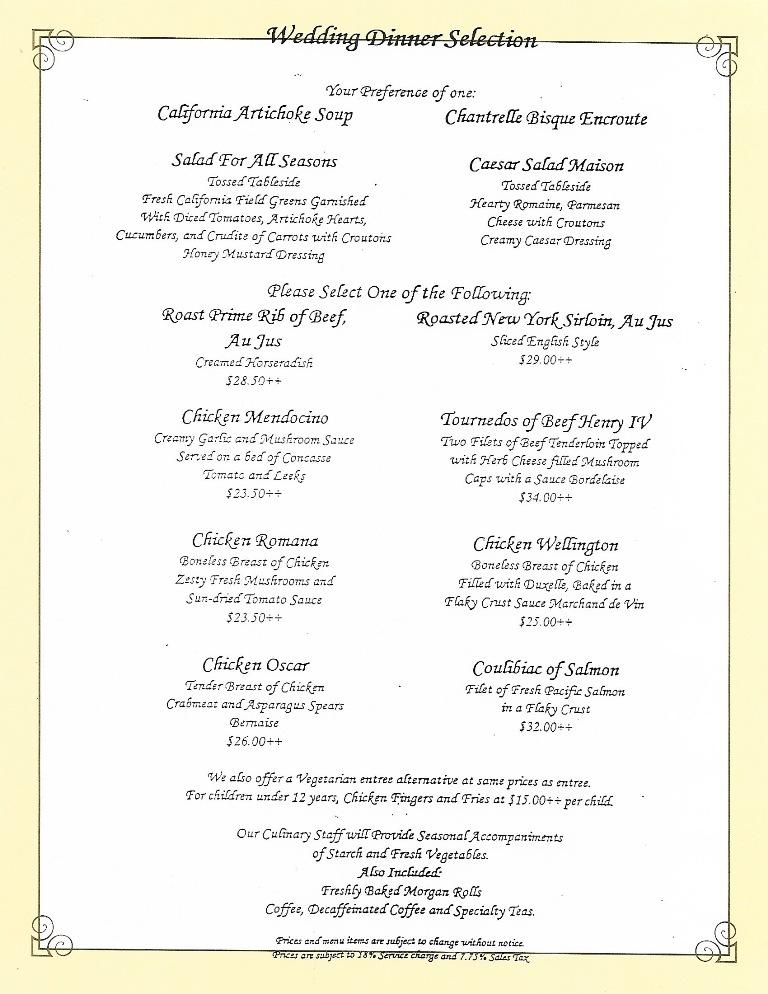 Scan of Disneyland Wedding dinner menu
