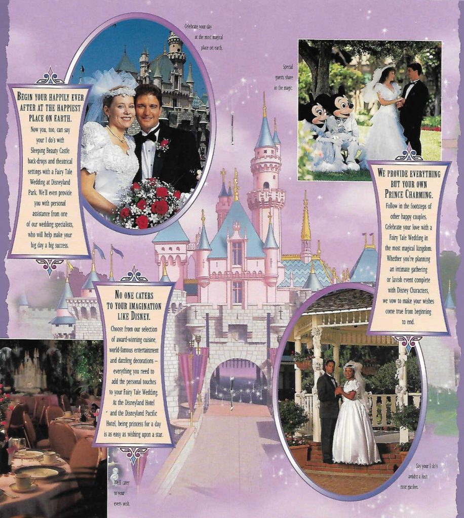 Collage of different wedding photos from The Disneyland Resort from 1990s