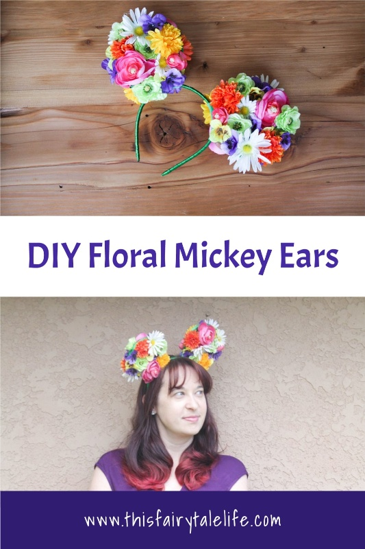 "Collage of floral ear headband with text ""DIY Floral Mickey ears"""