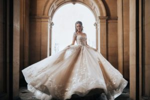 Bride wearing wedding gown inspired by Disney Princess Belle