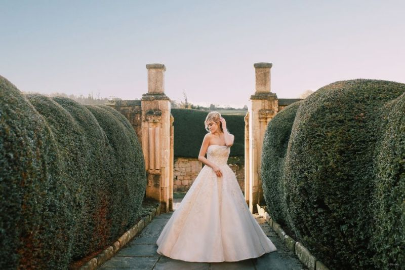 Bride wearing wedding gown inspired by Disney Princess Cinderella