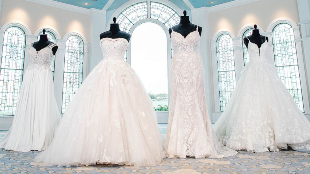 four wedding gowns on mannequins